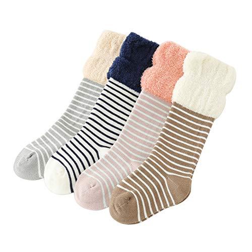 VWU Baby Socks Knee High Stocking with Grips Lining Color Unisex Girls Boys Toddler Infant Kids Velvet Cotton Tube Socks 6 Pack (Stripes (4 Pairs), 6-12 Months)