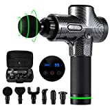 WOLF ARMOR Deep Tissue Percussion Massage Gun, Handheld Rechargeable Quiet Muscle Massager, Relieve Pain and Fatigue, for Bulk Muscle, Arm, Neck, Back, Foot, 6 Massage Heads, 30 Speeds Adjustable