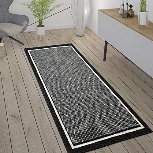 Paco Home Tapis Intérieur & Extérieur Terrasse Et Balcon Style Scandinave Résistant Aux Intempéries, Dimension:80x150 cm, Couleur:Noir 2