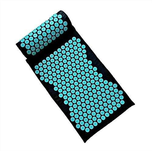 QSMGRBGZ Akupunktur-Massagekissen, Yoga-Akupressur-Matte mit Kissen für Fuß- / Rücken- / Nackenschmerzlinderung, Akupunkturmassage-Set für Muskelentspannung,Black Blue