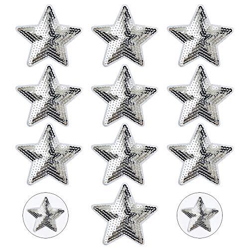 Nifocc Stars Appliques Pailletten Patches Stars Bestickter Aufnäher Aufbügeln Flicken für Kleidung Jeans Jacken Hüte Taschen Rucksäcke Schuhe Dekorationen - Silber 10 STK