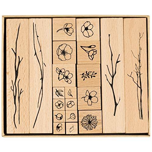 SNOWINSPRING 20 Teile/Los Vintage Blumen Zweig Dekoration Stempel Holz Stempel für Scrapbooking Schreibwaren DIY Handwerk Standard Stempel