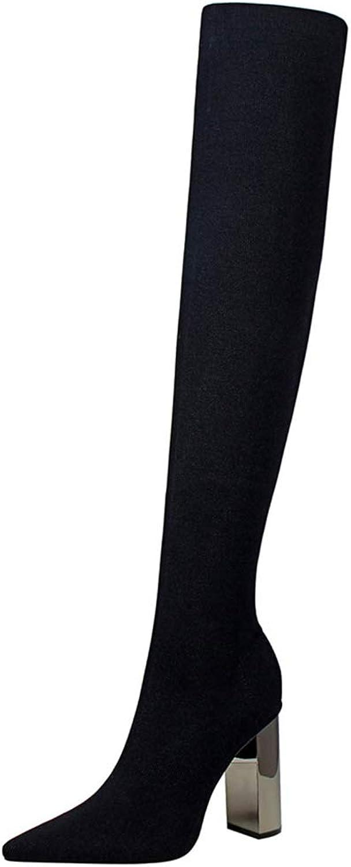GEORPE Knee High Boots Square Heels Metal Heel high Heeled Pointy Thin Wool Boots.