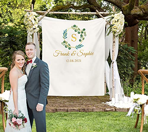 Custom Tapestry Personalized Wedding Backdrop with Name Customized Tapestry Wall Hanging for Wedding, Family, Memorial Gift