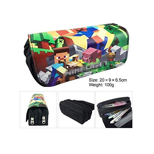 Estuche lapicero de doble capa con diseño de anime, para estudiantes, adolescentes, con compartimentos; neceser-bolsa de aseo, estuche de maquillaje, bolso para teléfono móvil