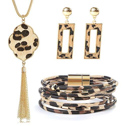 PROJEWE 3 pièces Ensemble de Bijoux de Léopard Collier long Pompon Bohème Boucles D'oreilles Pendantes Bracelets à Fermoir Magnétique Multicouche pour Femme