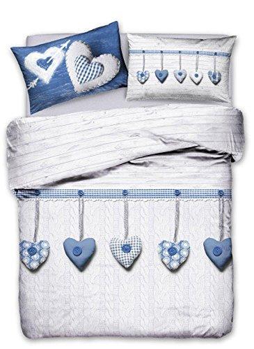Parure housse de couette pour lit double Heart Coeur BLU'En coton très fin-Fabriqué en Italie
