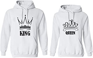 dcf4de7cb6 YJQ King and Queen Matching Couple Hoodies Pullover Hoodie Sweatshirts