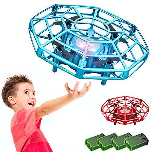 4DRC V3 Drone for Kids Hand Operated Mini Drone UFO Flying Ball (2-Pack) Hands Free Mini Drone Gifts for Boys and Girls, Easy Indoor Small UFO with Sensors 360 Degree Rotating Induction Drone,4 Modular Batteries