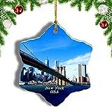 Weekino América Estados Unidos Puente de Brooklyn Manhattan Nueva York Decoración de Navidad Árbol de Navidad Adorno Colgante Ciudad Viaje Porcelana Colección de Recuerdos 3 Pulgadas