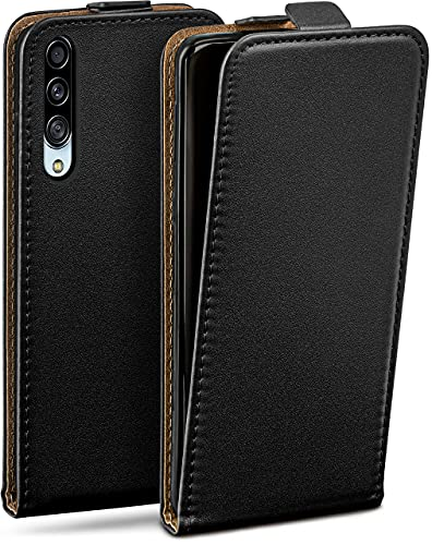 moex Flip Hülle für Samsung Galaxy A90 5G Hülle klappbar, 360 Grad R&um Komplett-Schutz, Klapphülle aus Vegan Leder, Handytasche mit vertikaler Klappe, magnetisch - Schwarz