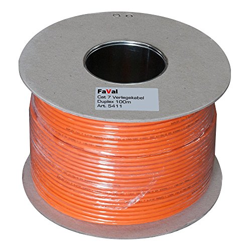 Faval K5411 CAT7 Verlegekabel 100m Duplex orange CAT.7 Spule Netzwerkkabel Installationskabel LAN Kabel Datenkabel Kupfer 2 x 4 x 2 x AWG23/1