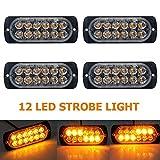 Luces estroboscópicas de emergencia para camiones, HugeAuto ámbar recuperación coche 12 luces LED barra de iluminación naranja Parrilla intermitente 12/24 V 6 piezas
