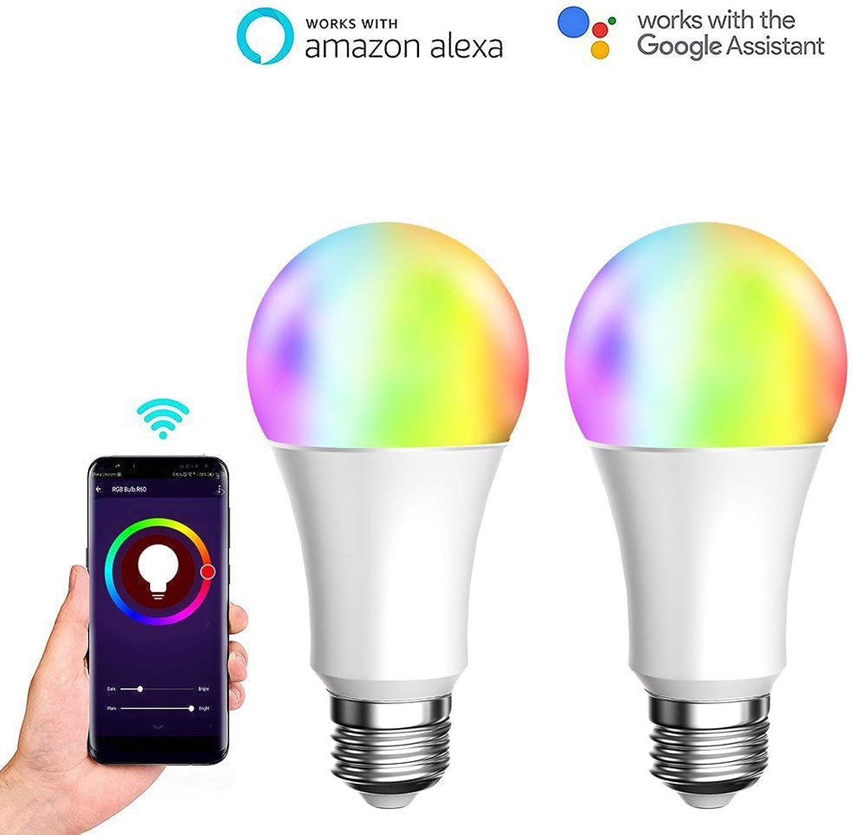 Intelligente LED-Birne mit 7W WiFi Dimmable RGB-LED-Birne, ferngesteuert von Smart Life-App (iOS & Android), Amazon Alexa und Google Home, 2er-Pack