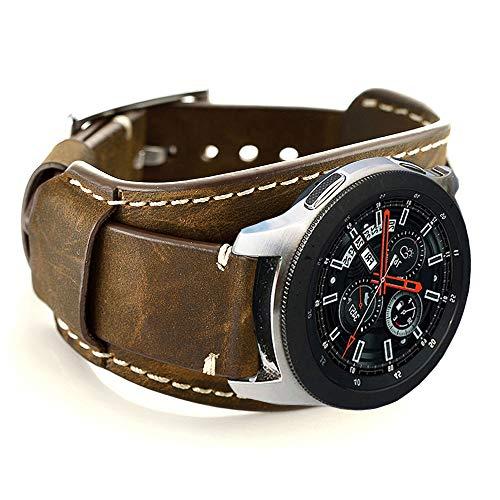 CooBES Compatibel met Samsung Galaxy Watch 46 mm/Gear S3 Frontier/Classic armband, 22 mm echt leer horlogebandje cuff reserve armbanden met roestvrijstalen sluiting voor mannen of vrouwen