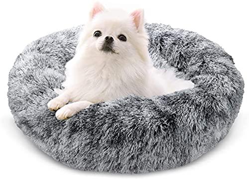 Docatgo Hundebett, Katzenbett, Haustierbett Flauschig Grau, 60x60cm Donut Bett Für Plueschtier Katzen und Hunde Weich, Plüschtier aus Kunstpelz mit Flusen,Fluffy Haustierkissen Mittelgroße