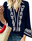 YOINS Camiseta para mujer de otoño, de manga larga, cuello en V, suelta, informal, con flores azul marino L