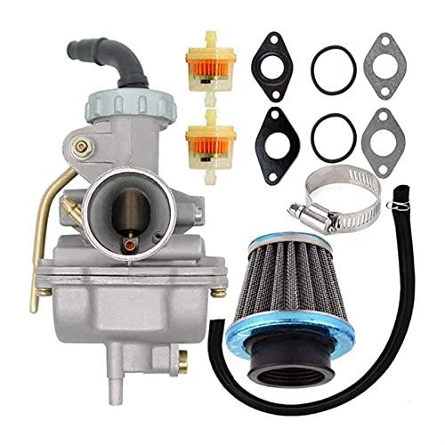 PZ20 carburador for 50 CC 70CC 90CC 110CC 125CC 4 Motor DE TUZO ATV UTVS H ^ O-N-D-A ARF50F CRF80F XR50R con Filtro de Combustible de Aire Accesorios para Motocicletas (Color : Silver)