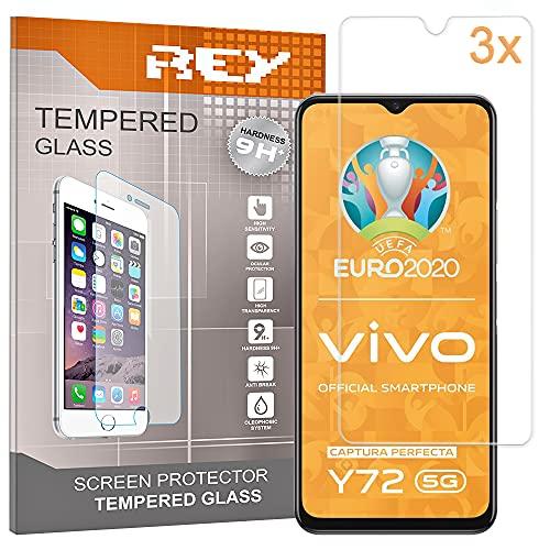 REY 3X Protector de Pantalla para Vivo Y72 5G - Vivo Y52 5G - Vivo IQOO Z3, Cristal Vidrio Templado Premium