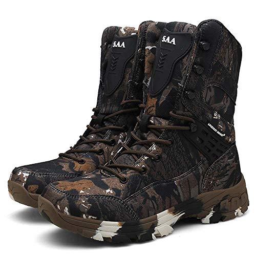 Bititger - Botas de desierto militares de piel, impermeables, con cremallera, botas tácticas y de combate para hombre, para patrullas, de seguridad, para policías, color Marrón, talla 40 2/3 EU