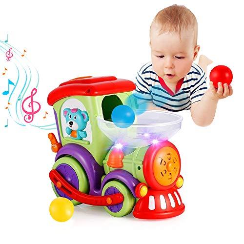 VATOS Giocattoli Bambino Treno per 1 2 3 4 Anni Ragazzi e Ragazze Giocattoli per Bambini con Palle a Caccia, Luce, Conversazione e Musica Giocattoli Educativi Precoci con Elettrico a Ruote