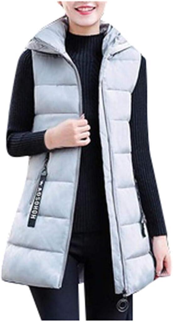 Warm Vest Body Warmer Zip Up Lightweight Sleeveless Jacket Coat Outdoor Vest Women Winter Long Gilet with Hood Ladies Chiristmas Gift for Mother Ladies
