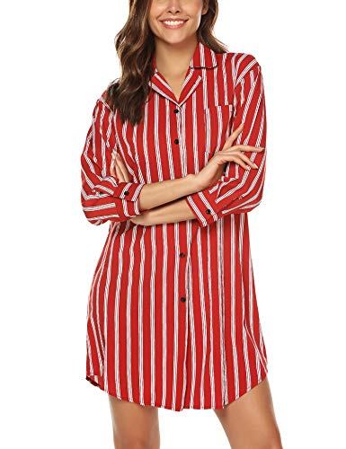 BESDEL Nachtwäsche für Frauen Casual gestreiftes Nachthemd mit Knöpfen 3/4 weiches Nachthemd Weinrot XXL