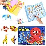Libro de origami para niños, 108 hojas de papel de origami de colores, papel artesanal de doble cara, kit de origami instructivo para niños, adultos, principiantes, lecciones de manualidades