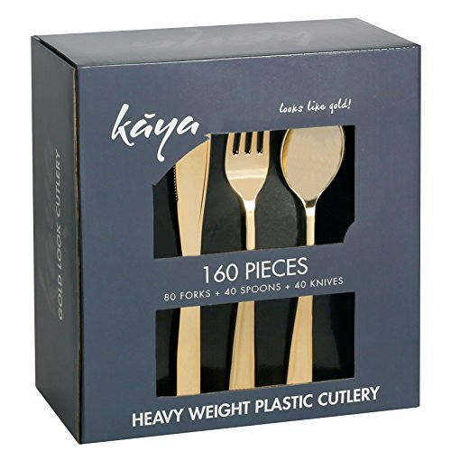 Plastic Silverware Set – 320 Piece Disposable Gold Cutlery – 160 Heavyweight Forks, 80 Fancy Spoons, 80 Knives – Heavy Duty Bulk Flatware Party Utensils for Wedding, Easter, Birthday & All Occasions