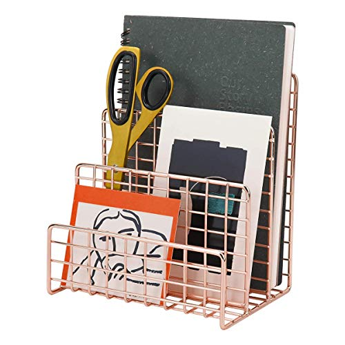 MORIGEM Bandeja para cartas, bandeja para papel color oro rosa, organizador de escritorio con 3 compartimentos, hecho a mano, de metal, para sobres, documentos, periódicos, libros