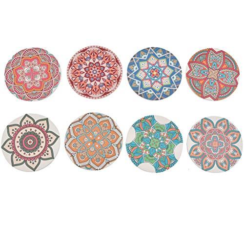 YOTINO 8er Pack Dekorative Glasuntersetzer für Glas Untersetzer Gläser Absorbierenden Keramik mit Halter, Untersetzer Saugfähige Keramik Untersetzer mit Korkrücken Mandala Stil