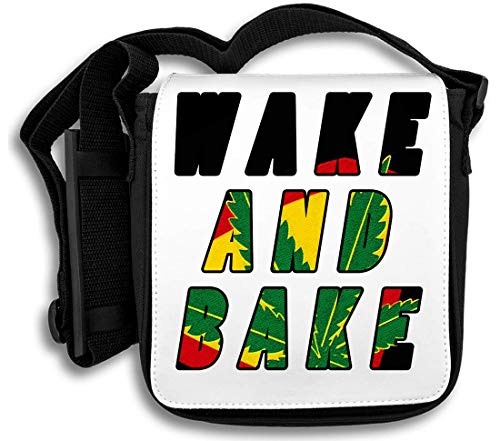 Wake and Bake Weed Ganja Smoker's Slogan Schultertasche