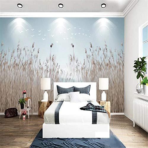 Benutzerdefiniertes 3D-Fototapete Neue chinesische nordische einfache Blumen-Gras-Schilf-erfrischende Nacht-Hintergrund-Wand-Dekor-Tapeten-Malerei, 200x140cm
