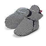 Botas de Niño Calcetín Invierno Soft Sole Crib Raya de Caliente Boots de Algodón para Bebés (12-18 meses, Raya Negro, Tamaño de etiqueta 13)