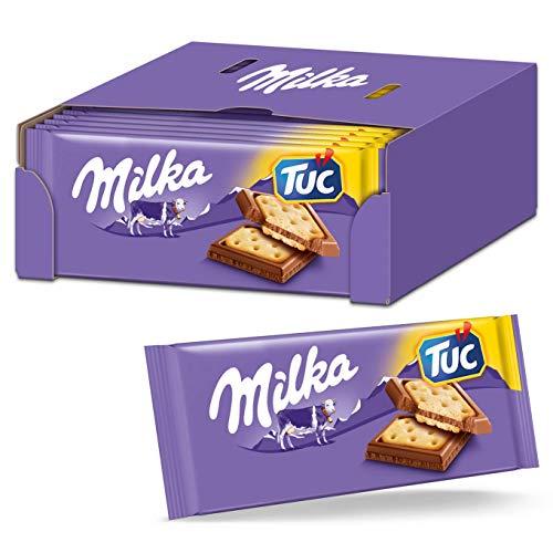Milka Alpenmilch Schokolade & TUC Cracker 18 x 87g, Zartschmelzende Schokoladentafel mit gesalzenen Crackern