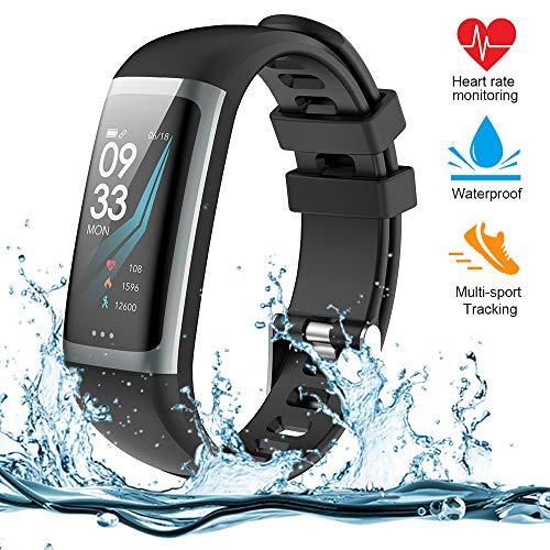 Fitness Tracker, Fitness Armband Smartwatch mit Herzfrequenz-Blutdruckmessgerät, 1,3 Zoll TFT-Farbbildschirm Fitness-Uhr mit Message Reminder Schlaf Monitor Schritt Kalorien Zähler Smart Band (G26-B)