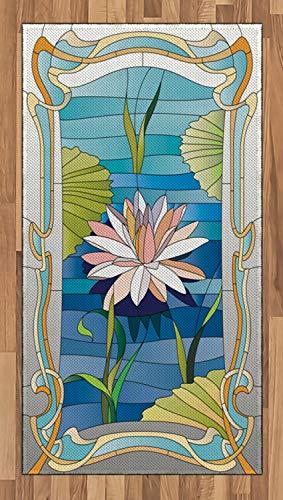 ABAKUHAUS Jugendstil Teppich, Buntglas Lotus, Deko-Teppich Digitaldruck, Färben mit langfristigen Halt, 80 x 150 cm, Mehrfarbig