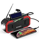 Emergency Weather Radio, 5000mAh Portable Hand Crank NOAA Radio, Solar FM AM Radio IPX5 Waterproof, Cell Phone Power Bank and Player, Radio for Outdoor Camping with SOS Alarm, Compass, Flashlight