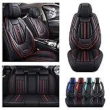 Juego completo de fundas de asiento de coche para VW para Volkswagen Eos, Funda de cojín de piel sintética para vehículo, protectores impermeables compatibles con bolsa de aire (negro)