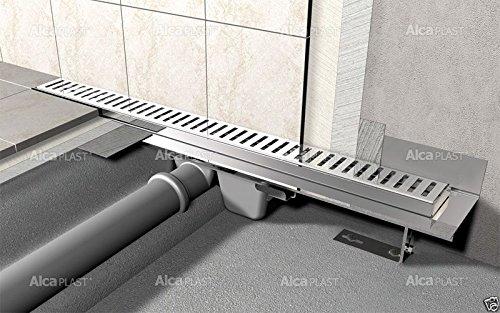 Alcaplast APZ104 Flexible Bodenablaufrinne-Duschrinne,mit Edelstahlrost - 1000 mm (Pure)