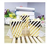 HYTGF Disposable Tableware 12pcs Gold Stiff Paper Party Popcorn Boxes Pop Corn Candy Snack Favor Bags Wedding Birthday Movie Party Tableware A