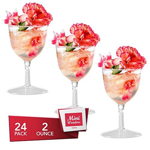 Dessert Cups – Mini Wine Goblet Shape Clear Plastic Parfait Cups | 2 oz - 24 Pack | Mini Cups - Chocolate Cups for Desserts | Appetizer Cups | Shooter Glasses | Mini Plastic Cups [Mini Wonders]