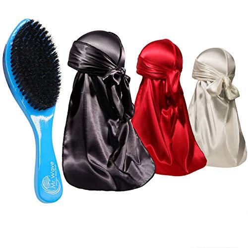 ForceWave 4 Pieces Silky Durags and Brush Pack for Men Waves, Moisture-Tech Fabric Satin Du-Rag