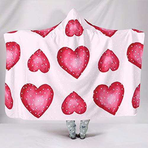 AXGM Pojkar flicka huva levande filt poäng röda hjärtan kärlek tryck huva filt överkast gosig filt supermjuk sömn fåtölj huva filt vit 130 x 150 cm