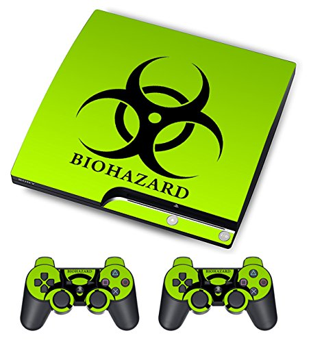 Skin Sticker for PS3 PlayStation 3 DualShock 3 Decals Custom Cover Cases Modding Game Sixaxis Vinyl Skins for Sony Play Station 3 Slim Console 2 Remote Controllers - Biological Harzard