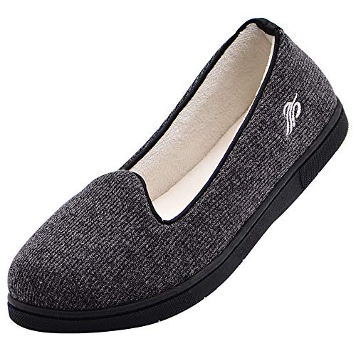 Wishcotton Womens Cozy Light House Slippers, Memory Foam House Shoes with Closed Back, Non slip Rubber Sole Indoor Outdoor, Dark Grey 8 M US