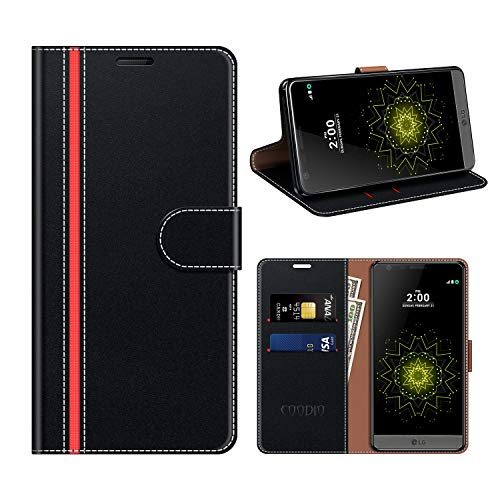 COODIO LG G5 Hülle Leder, LG G5 Kapphülle Tasche Leder Flip Cover Schutzhülle Rugged für LG G5 Handyhülle, Schwarz/Rot