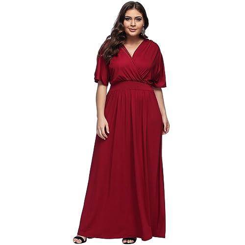 7c9b93ceb2e Lover-Beauty Vestido Largo Mujer Talla Grande Moda Bolsillo Top Falda para  Fiesta Verano Manga