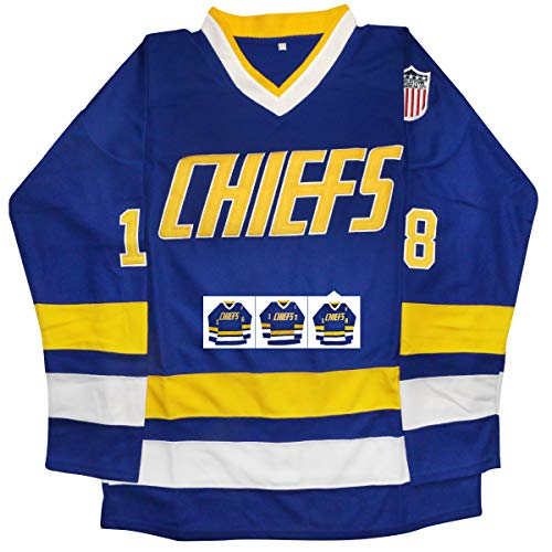 vinking Hanson Brothers Jersey, Charlestown Chiefs 16,17,18 Slap Shot Ice Hockey Jersey (18 Blue, M)