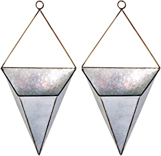 Galvanized Metal Geometric Hanging Wall Planters, Pack of 2, 17 Inches
